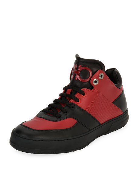 Salvatore Ferragamo Men's Leather Mid-Top Sneaker, Black/Red