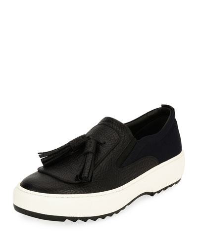Lucca 7 Leather Sneaker with Oversized Tassels on Archival Sawtooth Sole, Black (Nero)
