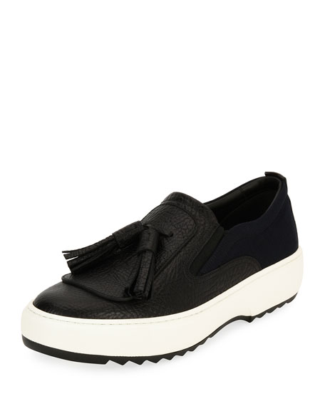 Men's Leather Sneakers with Oversized Tassels on Archival Sawtooth Sole, Black (Nero)