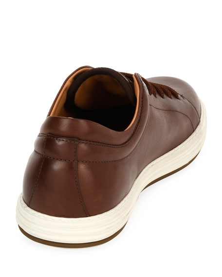 Leather Low-Top Sneaker, Brown (Mogano)