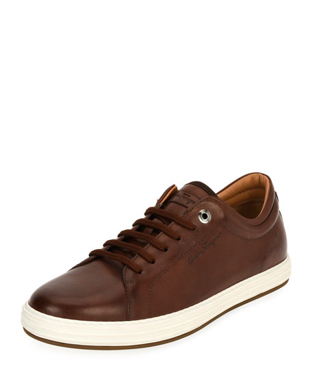 Salvatore Ferragamo Leather Low-Top Sneaker, Brown (Mogano)