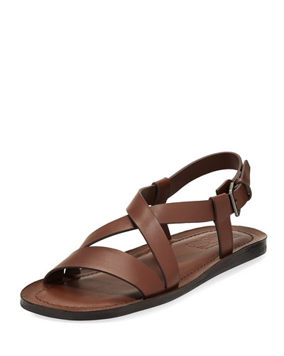Nostro 2 Habana Leather Strap Sandal, Brown
