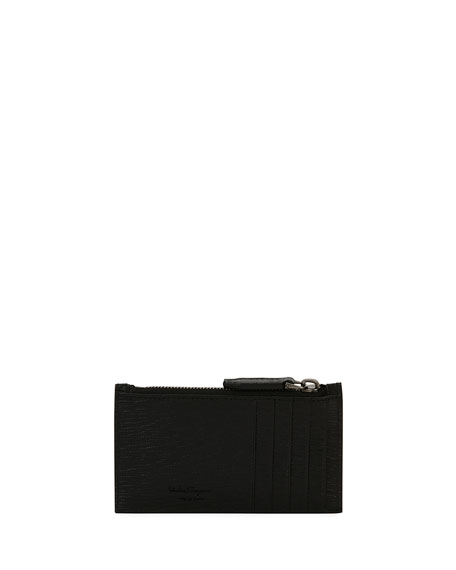 Men's Revival Leather Zip-Top Card Case, Black