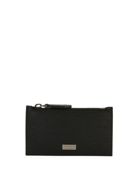 Salvatore Ferragamo Revival Leather Zip-Top Card Case, Black