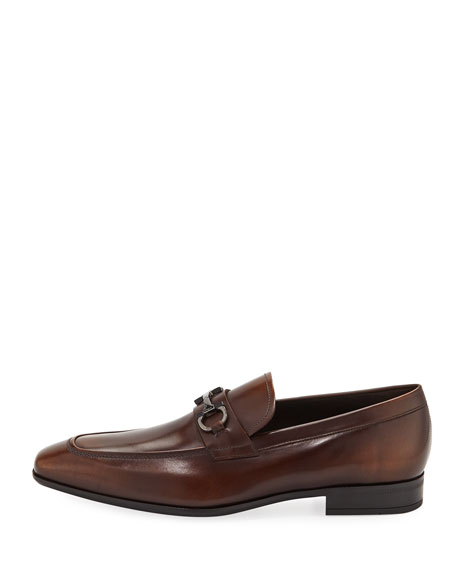 Gancini-Bit Leather Loafer, Brown