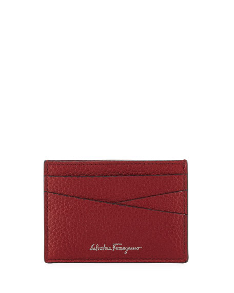 Salvatore Ferragamo Firenze Leather Card Case, Red
