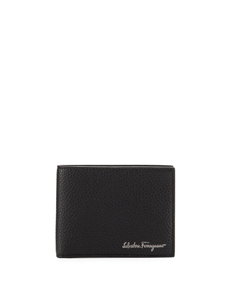 Salvatore Ferragamo Men's Firenze Leather Bi-Fold Wallet, Black