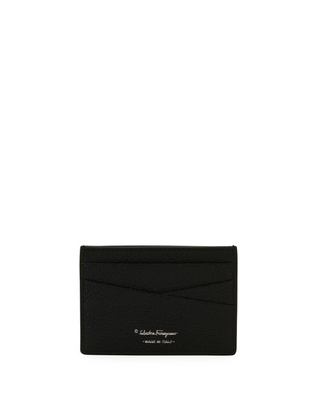 Salvatore Ferragamo Men's Firenze Leather Card Case, Black