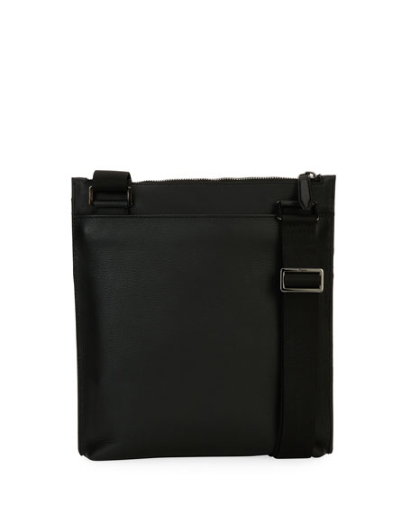 Men's Gancio Nylon & Leather Formal Crossbody Bag, Black
