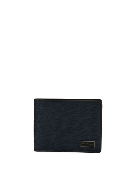 Salvatore Ferragamo Men's Revival Bi-Fold Leather Wallet, Blue