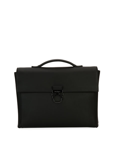 Salvatore Ferragamo Gancio Formal Soft Leather Briefcase, Black
