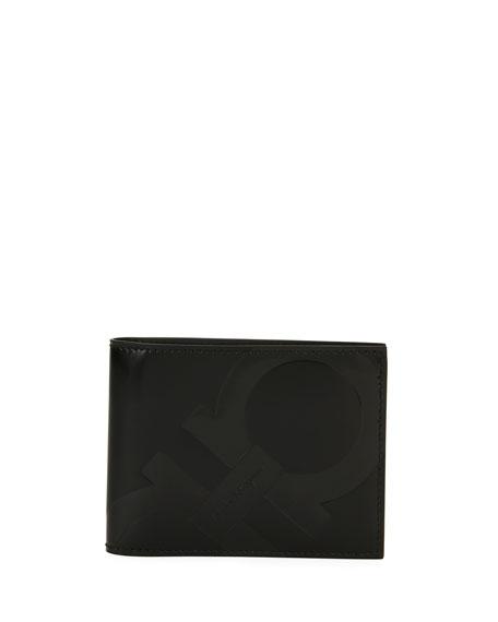 Salvatore Ferragamo Spazzolato Gancini Bi-Fold Wallet, Black
