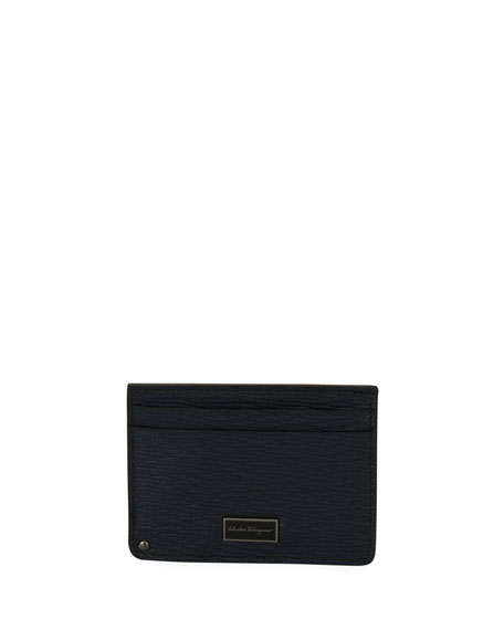 Salvatore Ferragamo Revival Leather Card Case with Flip-Out