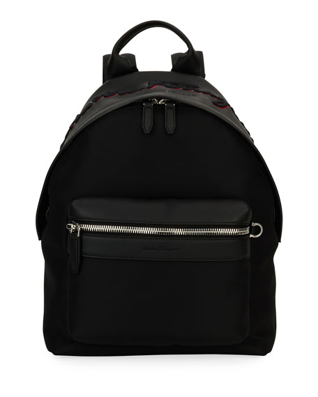 Salvatore Ferragamo Ferragamo-Embroidered Backpack, Black/Red