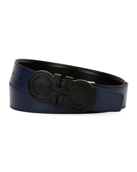 Futuristic Reversible Leather Gancini Belt, Black/Blue