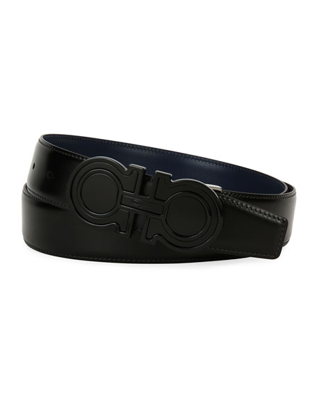 Salvatore Ferragamo Futuristic Reversible Leather Gancini Belt,