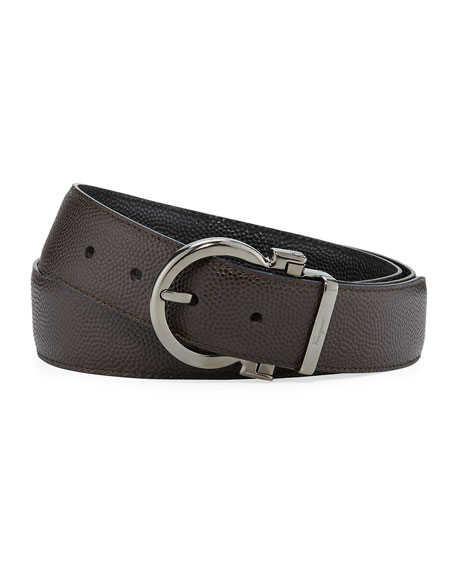 Men's Parigi Reversible Leather Gancio-Buckle Belt, Brown/Black