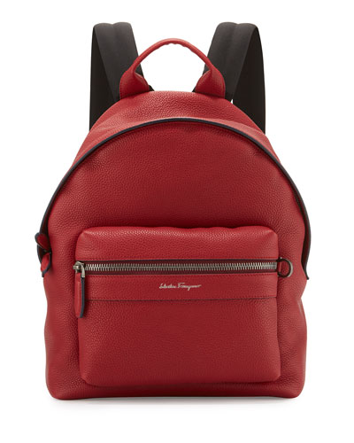 Firenze Men's Grained Leather Backpack, Red