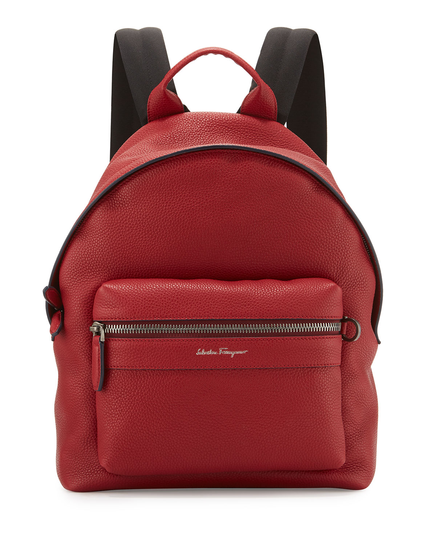 Salvatore Ferragamo Men s Firenze Grained Leather Backpack, Red ... 439d12649d