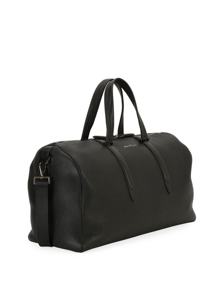Men's Firenze Leather Weekender Duffel Bag, Gray