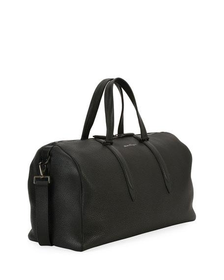 Men's Firenze Leather Weekender Duffel Bag, Gray