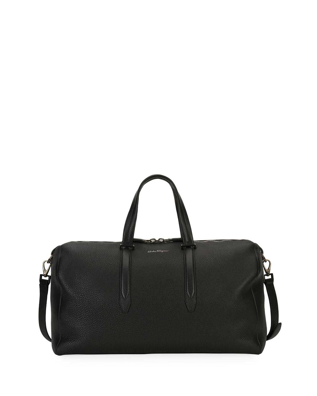 Salvatore Ferragamo Men s Firenze Leather Weekender Duffel Bag, Gray ... 0d74fcf282