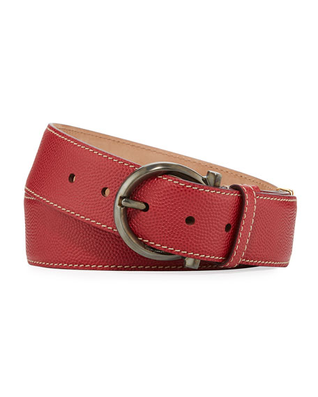 Men's Parigi Leather Gancio-Buckle Belt, Red
