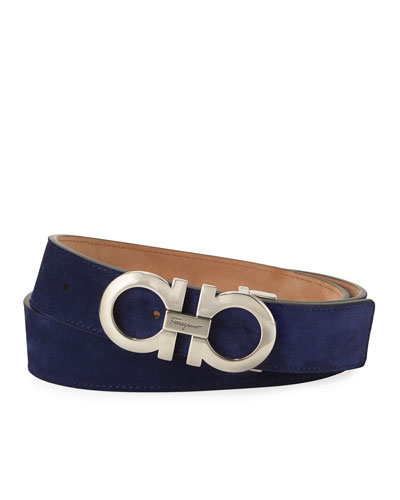 Suede Double-Gancio Belt, Blue