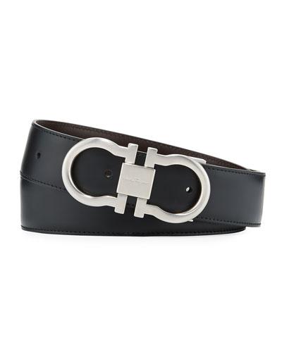 Reversible Leather Gancini-Buckle Belt, Black/Brown