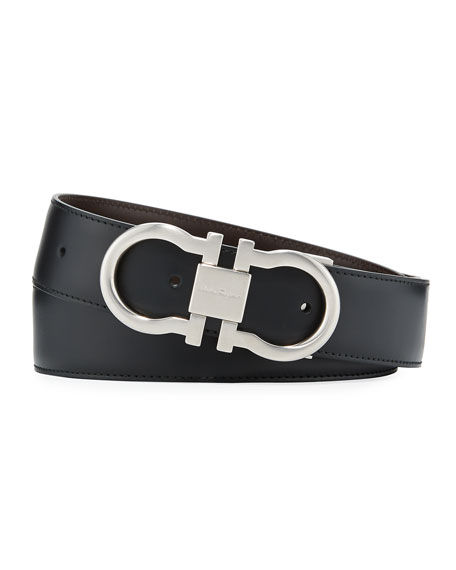 Men's Reversible Leather Gancini-Buckle Belt, Black/Brown
