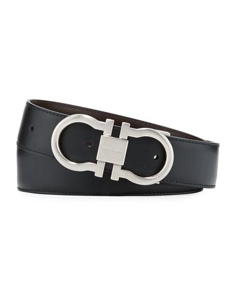 Salvatore Ferragamo Men's Reversible Leather Gancini-Buckle Belt,