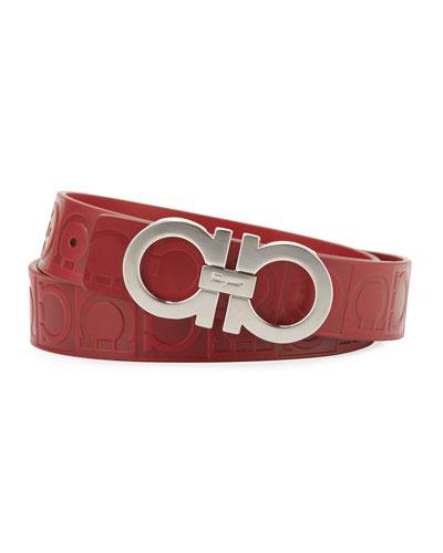 Gancio-Stamped Leather Belt, Red