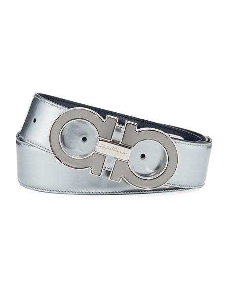 Reversible Metallic Leather Gancini-Buckle Belt, Silver