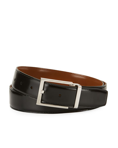 Reversible Lux Calfskin Leather Belt, Black/Brown