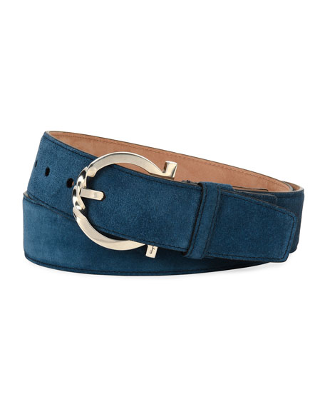 Suede Belt with Twisted Gancini Buckle, Blue