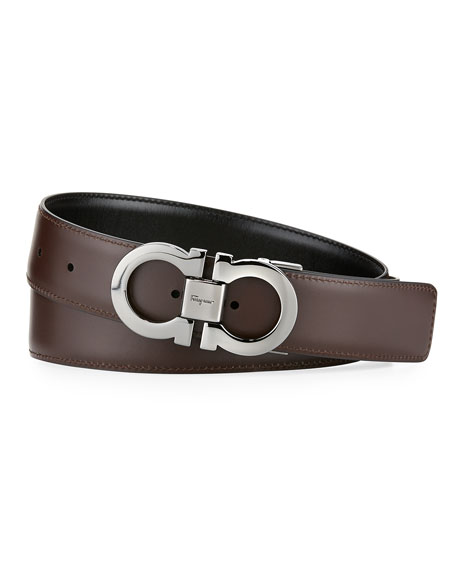 Men's Reversible Leather Double-Gancio Belt