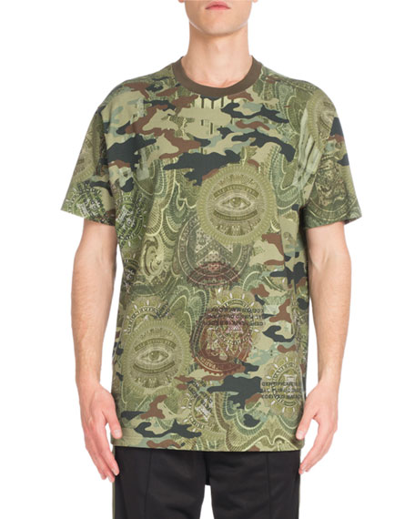 Givenchy Columbian Camo Money-Print Ringer T-Shirt, Khaki