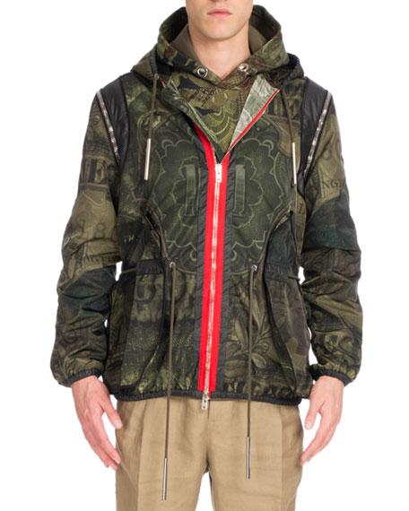 Givenchy Camo Money-Print Hooded Short Parka Jacket, Khaki