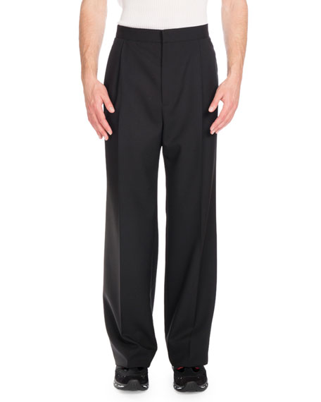 Givenchy Double-Pleat Wide-Leg Trousers, Black