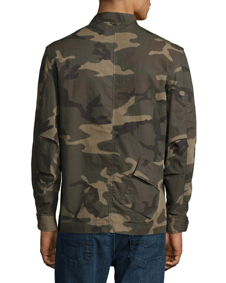 Camo-Print Field Shirt Jacket, Green