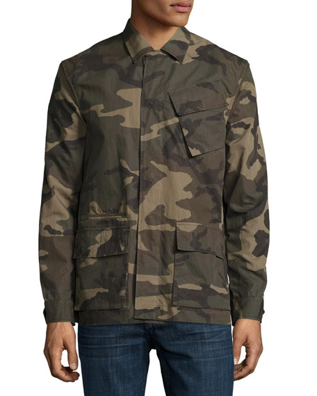 Camo-Print Field Shirt Jacket, Green