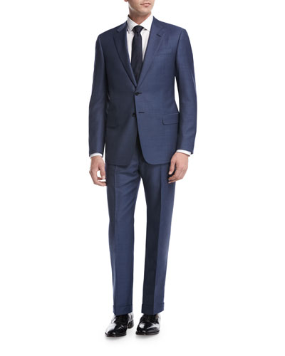 Textured Wool Two-Piece Suit, Light Blue