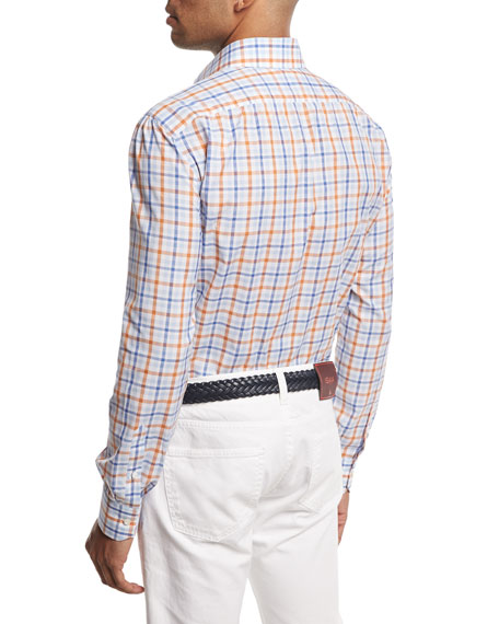 Windowpane Check Sport Shirt, Blue/Rust