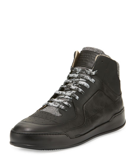 Maison Margiela Men's 80s Leather Basketball High-Top Sneakers