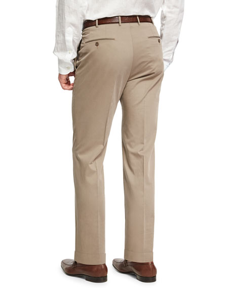 Cashmere-Cotton Flat-Front Pants