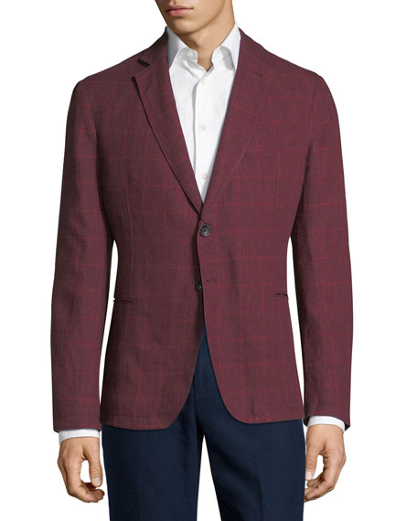 Armani Collezioni Windowpane Check Soft Jacket