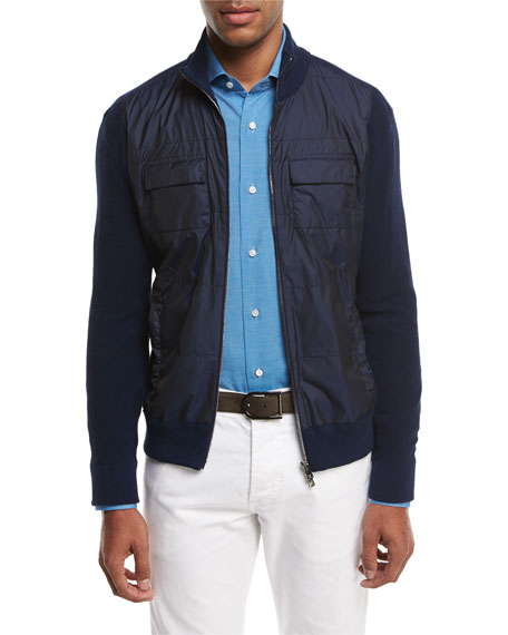 Isaia Cotton-Tech Hybrid Zip-Front Jacket, Navy