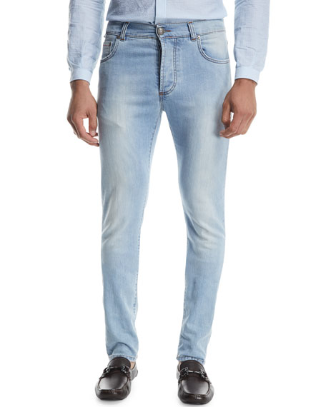 Isaia Dark Wash Straight-Leg Jeans, Blue
