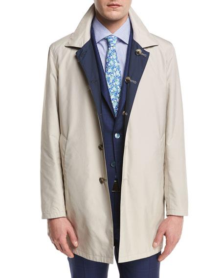 Reversible Single-Breasted Raincoat, Navy/Beige