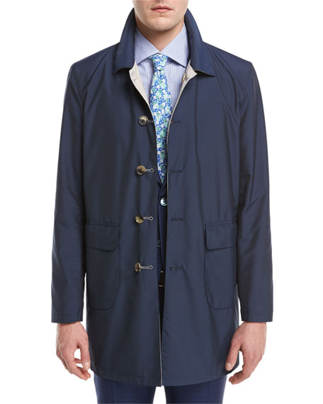 Isaia Reversible Single-Breasted Raincoat, Navy/Beige